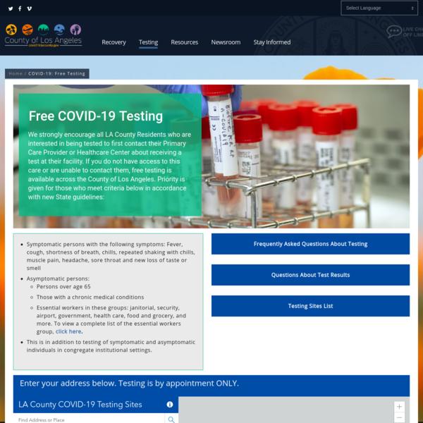 COVID-19: Free Testing