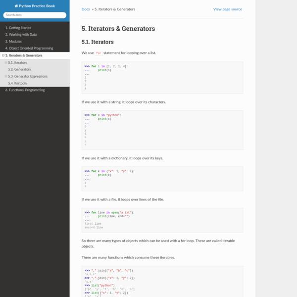 5. Iterators & Generators — Python Practice Book 0.3 documentation