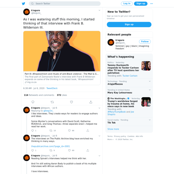 [this thread by Keguro Macharia is a work of art *and* scholarship *and* criticism, fully recorded, here but best read on Twitter as a thread, for effect]