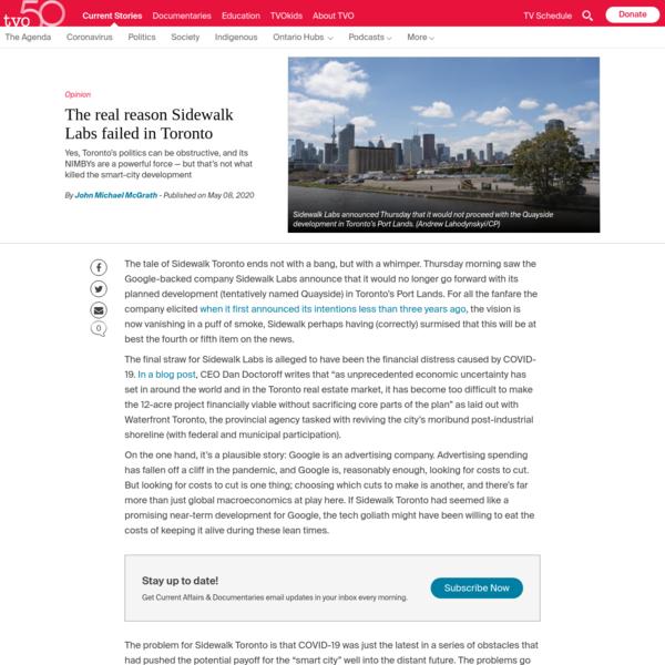 The real reason Sidewalk Labs failed in Toronto | TVO.org