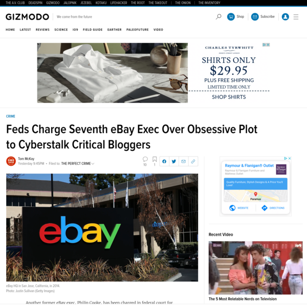 Another eBay Exec Faces Federal Charges Over Cyberstalking Plot
