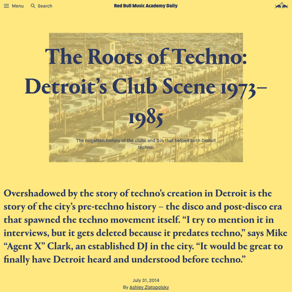 The Roots of Techno: Detroit's Club Scene 1973-1985 | Red Bull Music Academy Daily