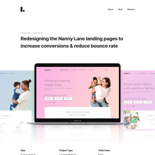 Redesigning the Nanny Lane landing pages to increase conversions & reduce bounce rate