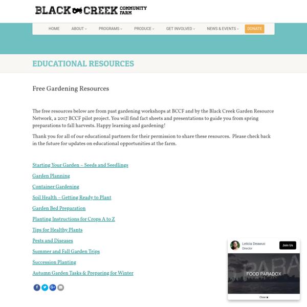 Educational Resources | Black Creek Community Farm