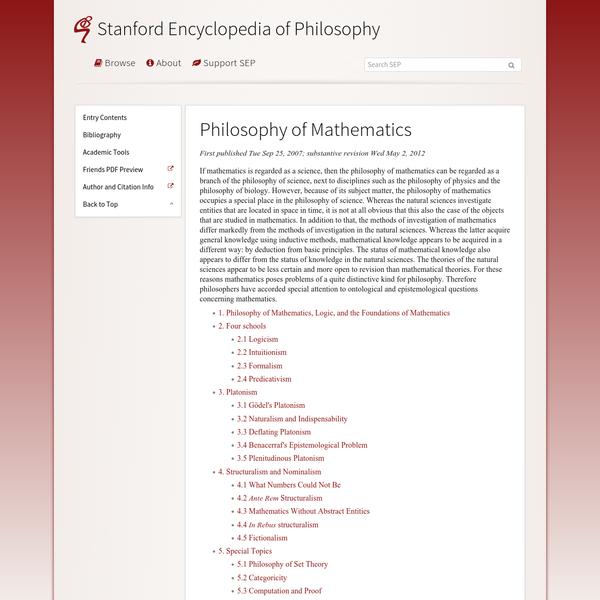 Philosophy of Mathematics (Stanford Encyclopedia of Philosophy)