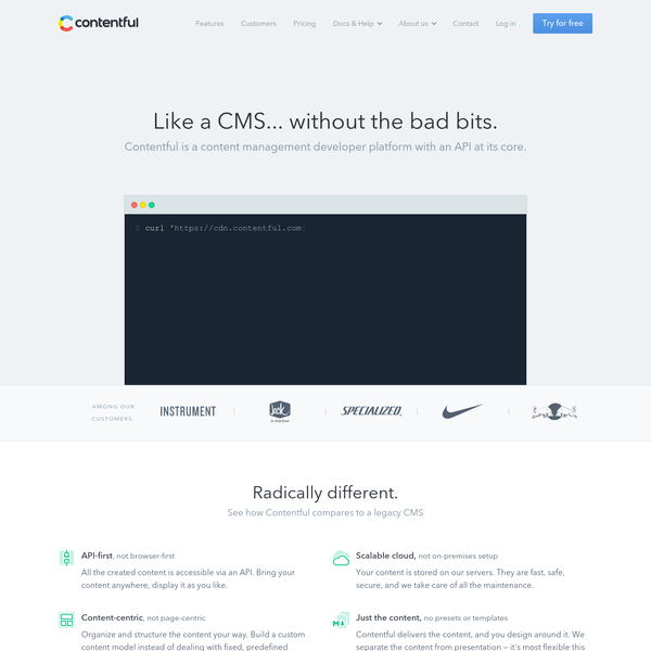 Bringing love back into content management: Contentful is an API-first CMS focused on the simplicity of development. Manage structured content in websites and apps.