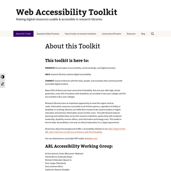 PROMOTE the principles of accessibility, universal design, and digital inclusion. HELP research libraries achieve digital accessibility. CONNECT research libraries with the tools, people, and examples they need to provide accessible digital content. About 20% of Americans have some kind of disability.