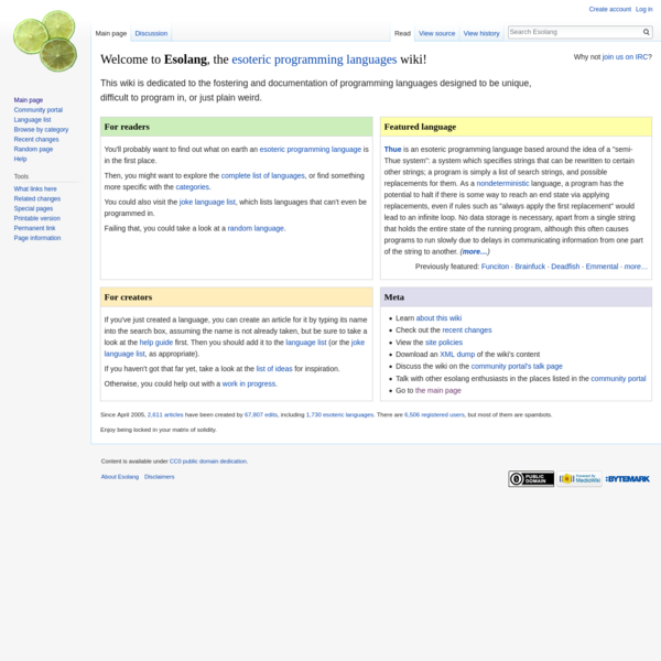 Esolang, the esoteric programming languages wiki