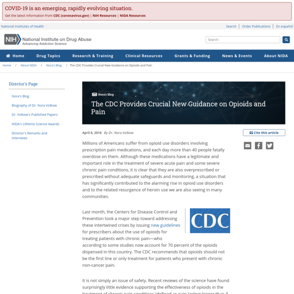 The CDC Provides Crucial New Guidance on Opioids and Pain | National Institute on Drug Abuse