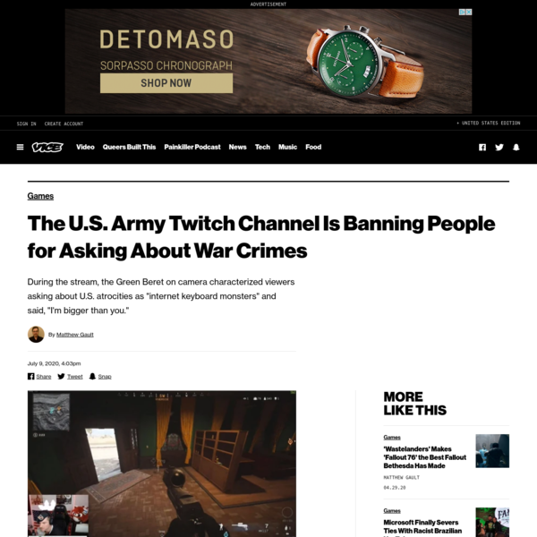 The U.S. Army Twitch Channel Is Banning People for Asking About War Crimes