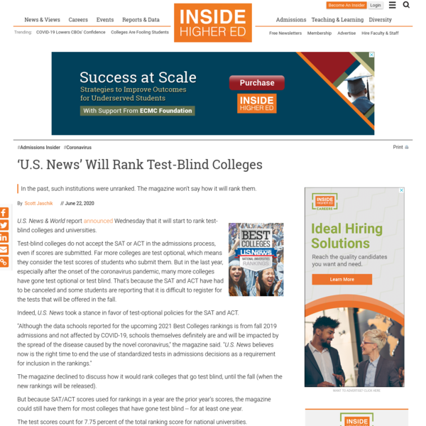 'U.S. News' will rank test-blind colleges
