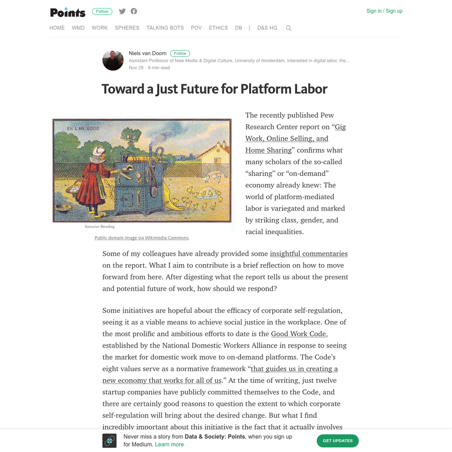 """The recently published Pew Research Center report on """" Gig Work, Online Selling, and Home Sharing """" confirms what many scholars of the so-called """"sharing"""" or """"on-demand"""" economy already knew: The world of platform-mediated labor is variegated and marked by striking class, gender, and racial inequalities."""