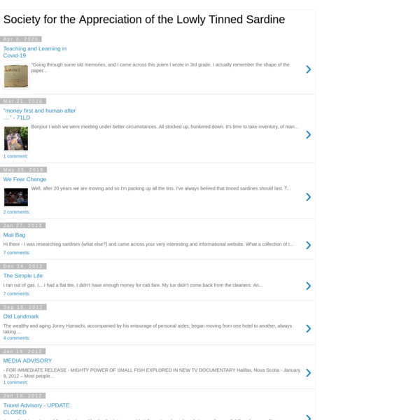 Society for the Appreciation of the Lowly Tinned Sardine