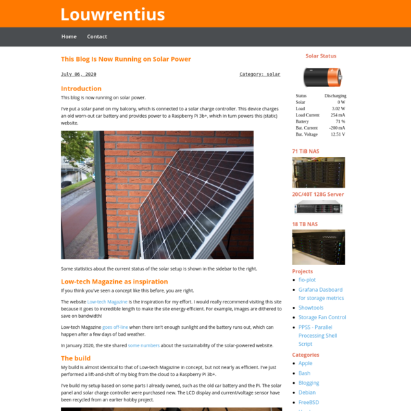 This blog is now running on solar power