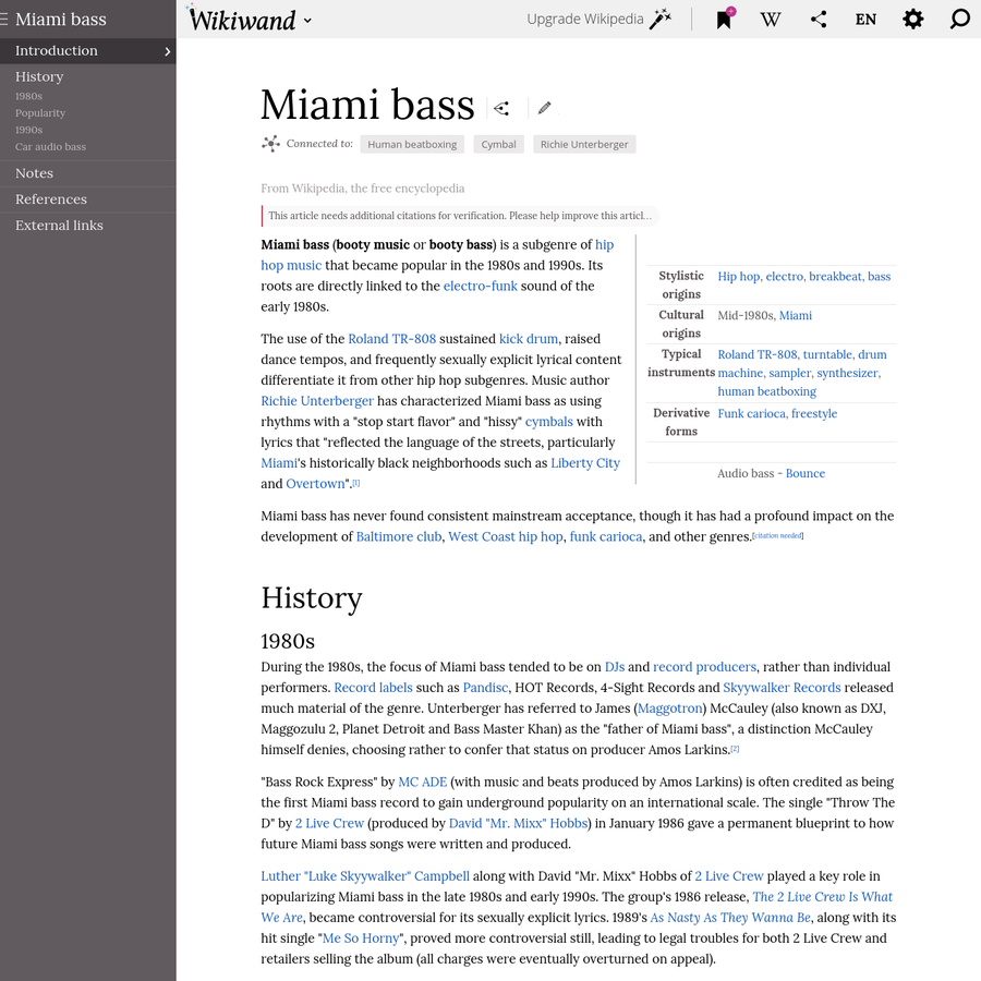 Miami bass is a subgenre of hip hop music that became popular in the 1980s and 1990s. Its roots are directly linked to the electro-funk sound of the early 1980s.