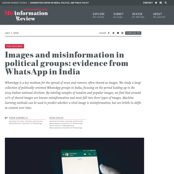 Images and misinformation in political groups: evidence from WhatsApp in India | HKS Misinformation Review