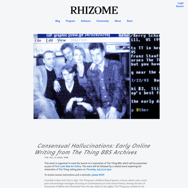 Consensual Hallucinations: Early Online Writing from The Thing BBS Archives | Rhizome