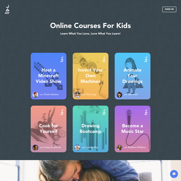 Great for ages 8 and up. Skills you can't get in school. Minecraft, Illustration, Animation, Engineering, Cooking. Learn what you love and love what you learn.