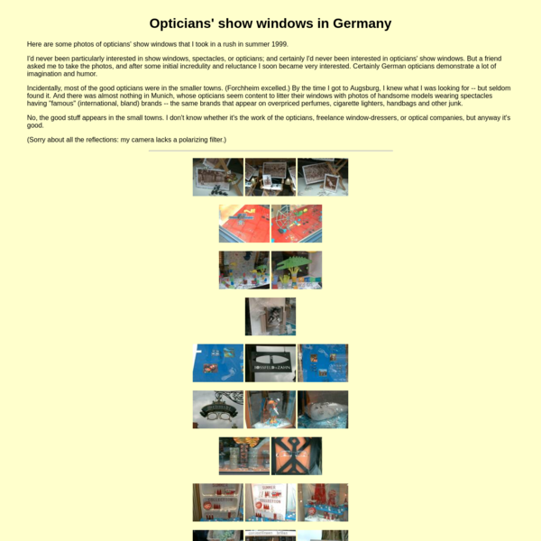 Opticians' show windows in Germany