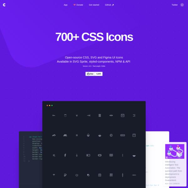 700+ CSS Icons, Customizable, Retina Ready & API