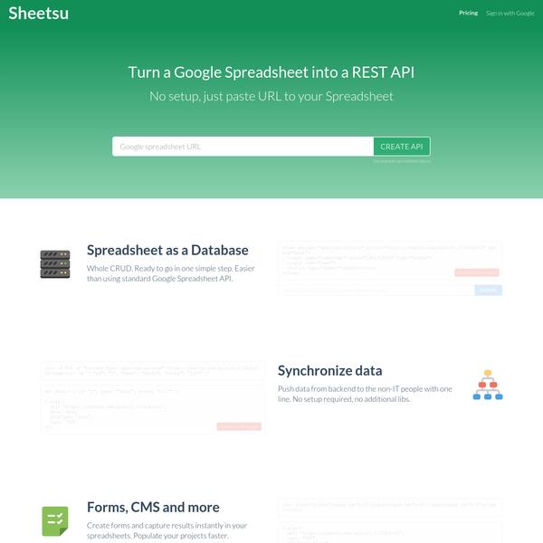 Turn Google Spreadsheet into API