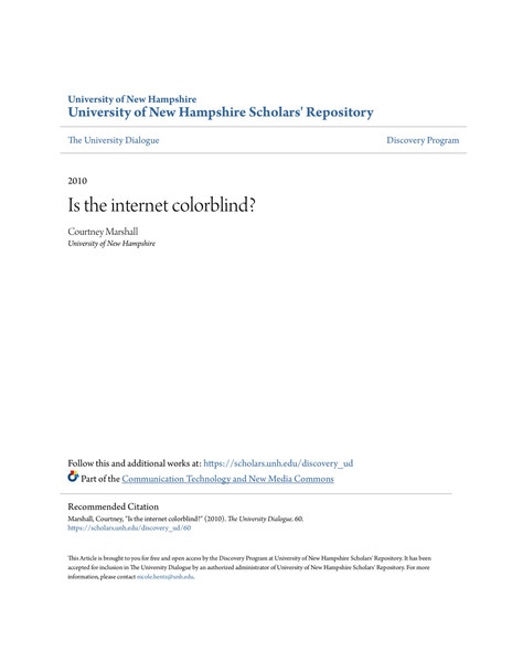 Is the Internet Colorblind? Courtney Marshall, 2010