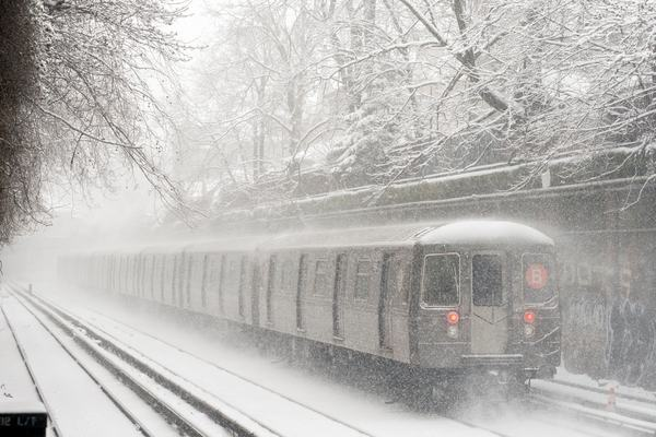 The B train kept running as New York City was blanketed with 8 inches of snow in March 2015.