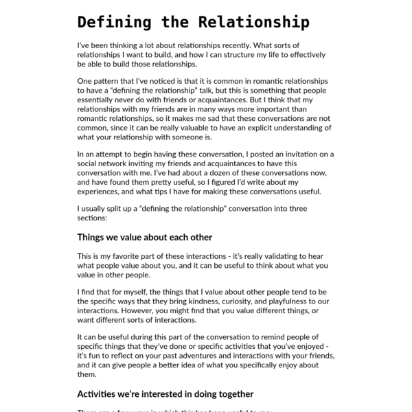 Defining the Relationship