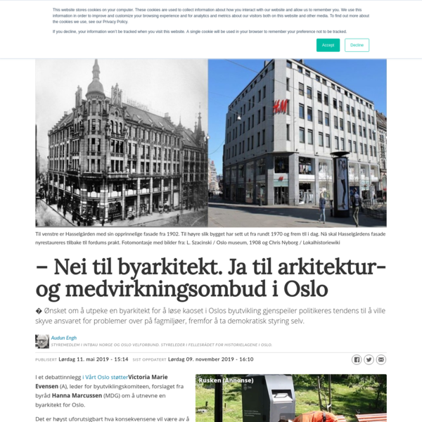 - Nei til byarkitekt. Ja til arkitektur- og medvirkningsombud i Oslo
