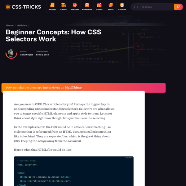 Beginner Concepts: How CSS Selectors Work | CSS-Tricks
