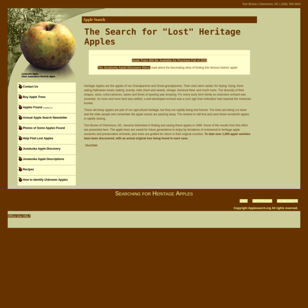 "Apple Search - The Search for ""Lost"" Heritage Apples"