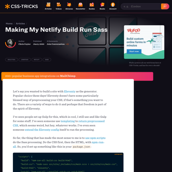 Making My Netlify Build Run Sass | CSS-Tricks