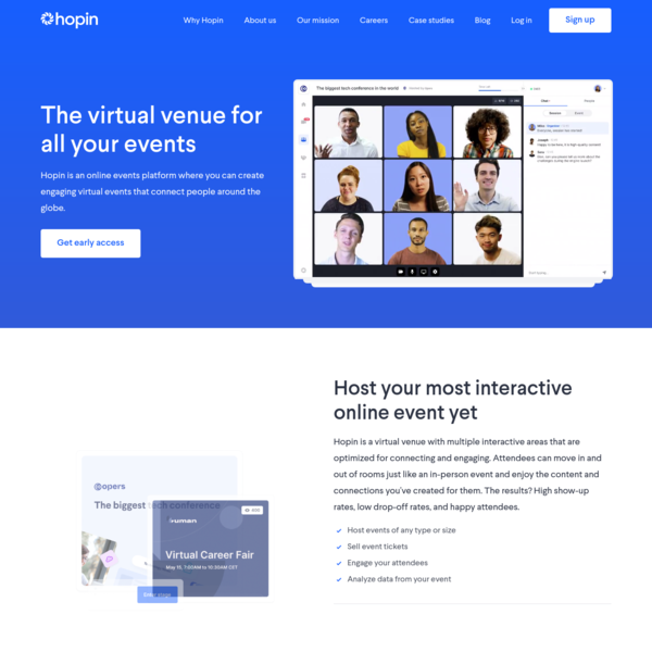 Hopin: Online venue for virtual events