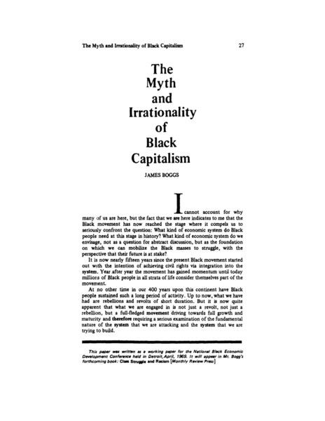"James Boggs, ""The Myth & Irrationality of Black Capitalism"" (1969)"