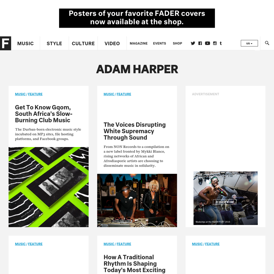 The FADER is the definitive voice of music and the lifestyle that surrounds it.