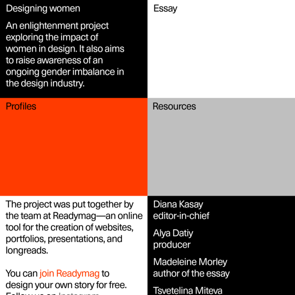 Designing women - a project by Readymag exploring the impact of women in design.