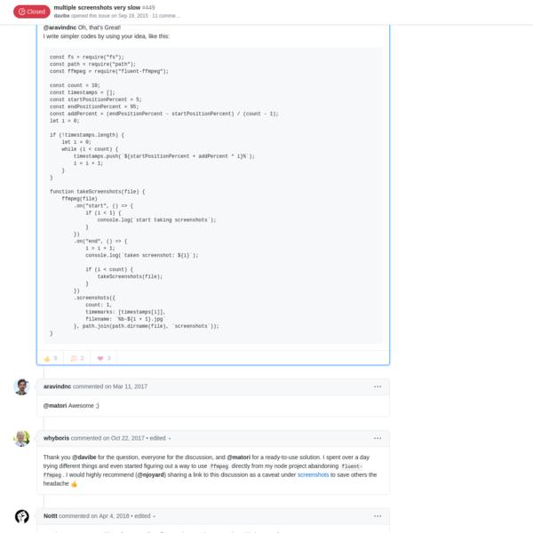 multiple screenshots very slow · Issue #449 · fluent-ffmpeg/node-fluent-ffmpeg