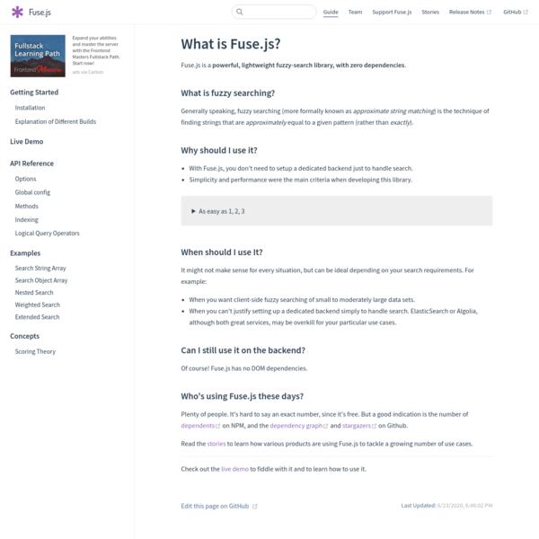 What is Fuse.js? | Fuse.js