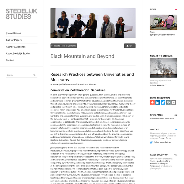 Black Mountain and Beyond - Research Practices between Universities and Museums - Stedelijk Studies