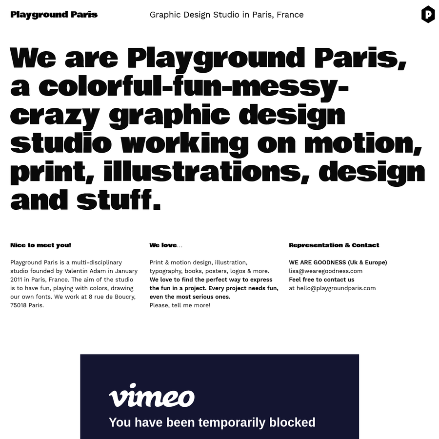 We are Playground Paris, a colorful-fun-messy-crazy graphic design studio working on motion, illustrations, print design and stuff.