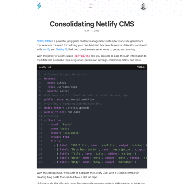 Consolidating Netlify CMS