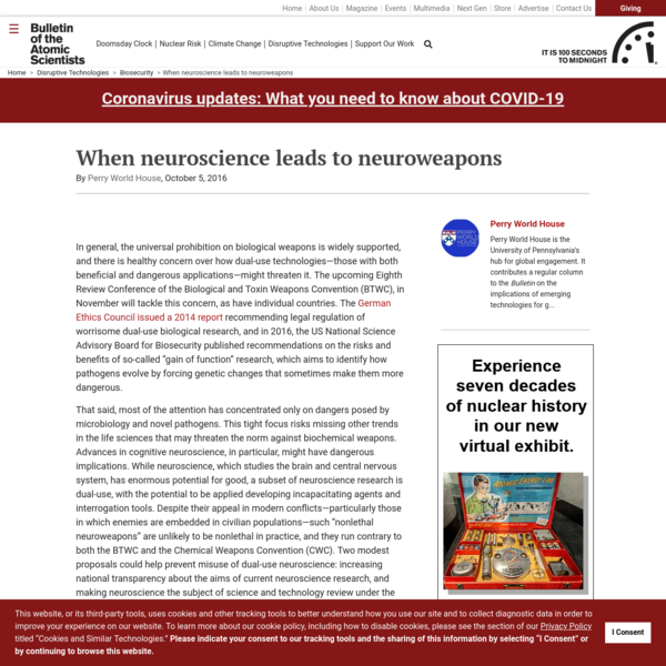 When neuroscience leads to neuroweapons - Bulletin of the Atomic Scientists