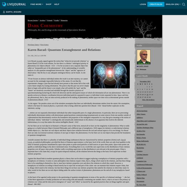 Karen Barad: Quantum Entanglement and Relations