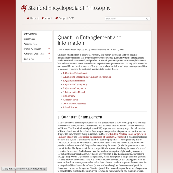 Quantum Entanglement and Information (Stanford Encyclopedia of Philosophy)
