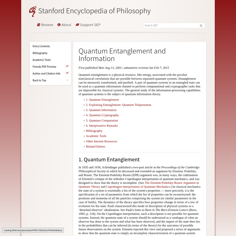 Quantum entanglement is a physical resource, like energy, associated with the peculiar nonclassical correlations that are possible between separated quantum systems. Entanglement can be measured, transformed, and purified.