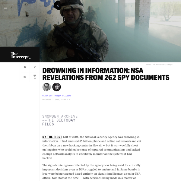 Drowning in Information: NSA Revelations From 262 Spy Documents