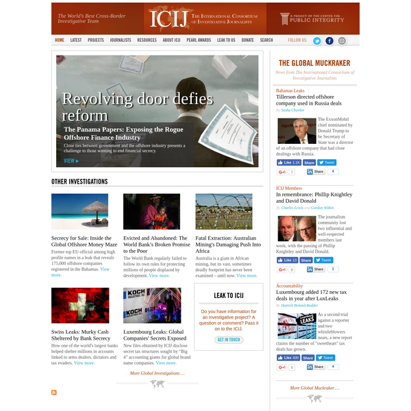 The International Consortium of Investigative Journalists is an active global network of 160 reporters in more than 60 countries who collaborate on in-depth investigative stories.