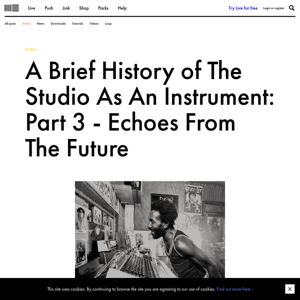 Part 3 of A Brief History of The Studio As An Instrument features King Tubby, Lee 'Scratch' Perry, Conny Plank, and Patrick Cowley and other audio pioneers
