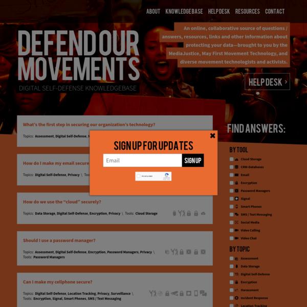 Defend Our Movements: Digital Self-Defense Knowledgebase