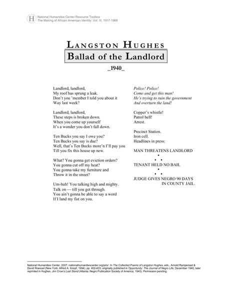 Ballad of the Landlord, Langston Hughes